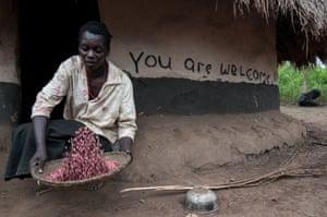 A farmer prepares beans in Nwoya, near Gulu, northern Uganda