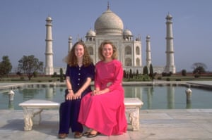 Hillary and Chelsea Clinton on a visit in March 1995