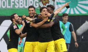 Marc Bartra celebrates scoring his first goal for Borussia Dortmund