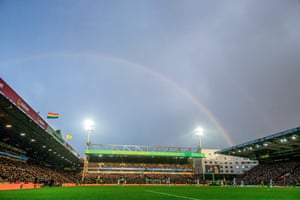 A rainbow over Carrow Road during the match between Norwich's 2-1 defeat to Sheffield United.