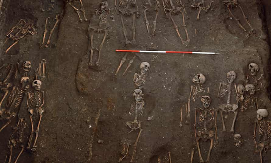 The remains of numerous individuals unearthed on the site of the former Hospital of St. John the Evangelist in Cambridge.