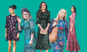 The Vampire's Wife dress, in different styles, as seen on Thandie Newton, Princess Beatrice, the Duchess of Cambridge, Jodie Comer and Zawe Ashton.
