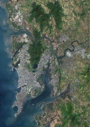 A satellite image of Mumbai.