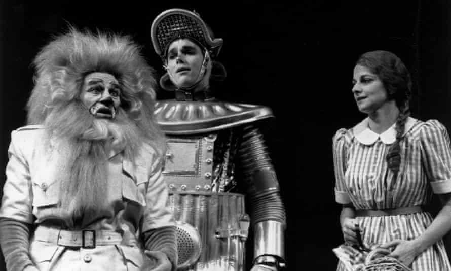 Trevor Peacock as the Lion, left, in the RSC's production of The Wizard of Oz, 1989.