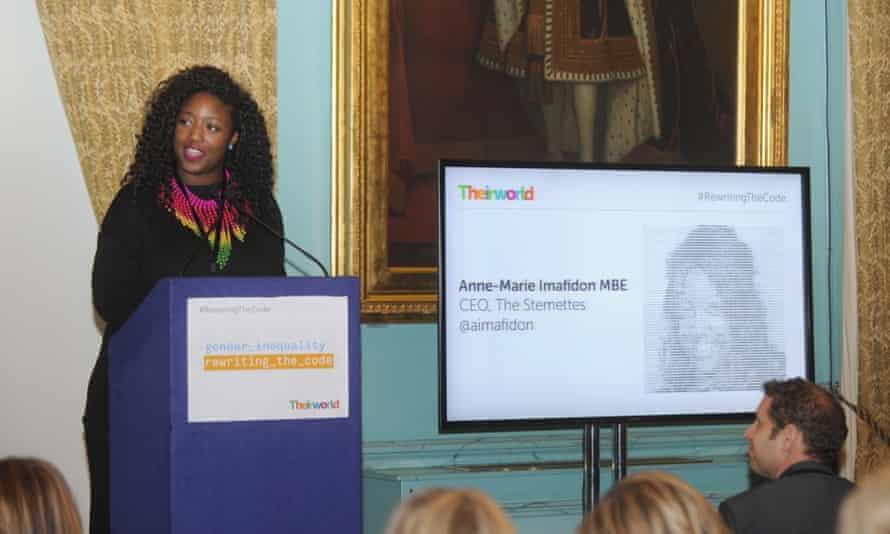 Anne-Marie Imafidon speaks during Theirworld #RewritingTheCode International Women's Day Breakfast, March 2017.
