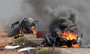 Israeli military vehicles  burning in Shebaa farms in January 2015