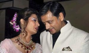 Shashi Tharoor with Sunanda Pushkar at their wedding reception in New Delhi in 2010.