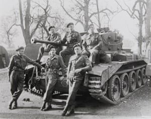Photograph of tank crew including Whistler, in the grounds of Pickering Castle. Whistler was killed in action in the second world war, aged 39.