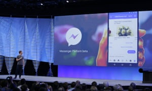 Facebook CEO Mark Zuckerberg talks about the new Messenger Platform at the F8 Facebook Developer Conference in San Francisco.