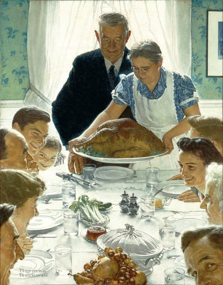 Freedom from Want … Rockwell's renowned Thanksgiving scene, with glad faces bathed in a very American light of freedom.