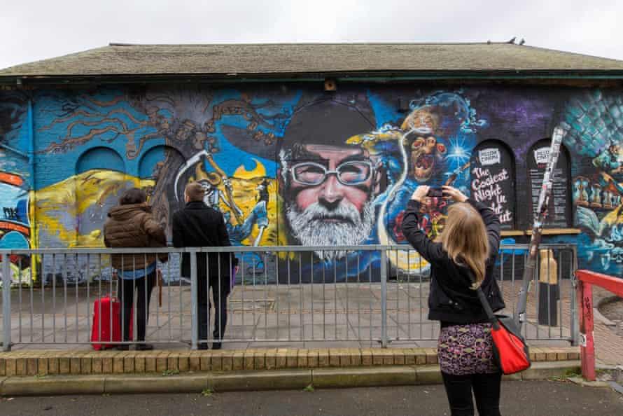 A Terry Pratchett mural near Brick Lane, east London.