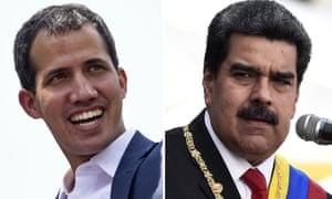 Composite of Juan Guaidó and Nicolás Maduro