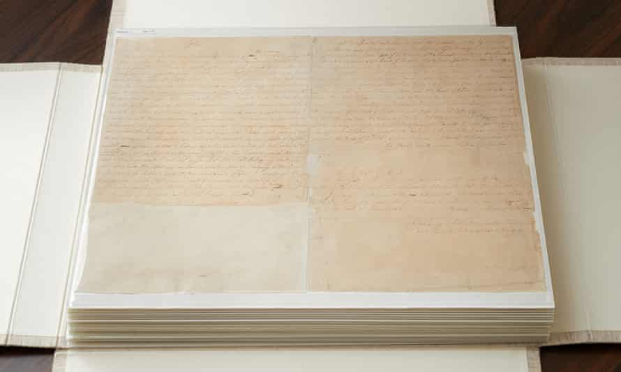 These are the first couple of pages of the printer's manuscript of the Book of Mormon. It is enclosed by folding the casing and then by sliding it into an additional case