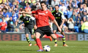 Peter Whittingham scores from the spot for Cardiff at home to Stoke in a Premier League game in April 2014