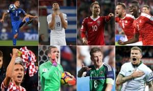 The main men: Marco Verratti, Sokratis Papastathopoulos, Christian Eriksen, Breel Embolo, Luka Modric, Robin Olsen, Steven Davis and James McClean.