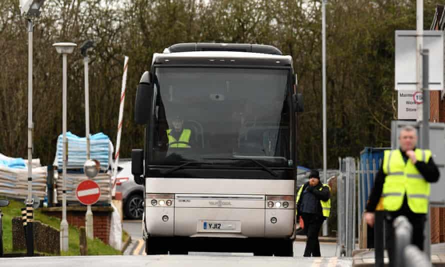 The Wuhan evacuees leave Arrowe Park hospital in Wirral.