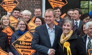 Daisy Cooper, Lib Dem candidate for St Albans, shaking the hand of then party leader Tim Farron