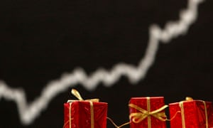 Christmas decoration is pictured in front of the German share price index