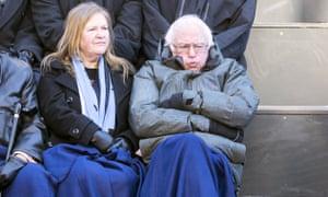 New York, NYA freezing Jane O'Meara Sanders and Bernie Sanders attend inauguration for Public Advocate Mayor Bill de Blasio sworn in for second term.