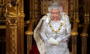Queen Elizabeth delivers the Queen's Speech during the State Opening of Parliament in the House of Lords at the Palace of Westminster in London, Britain October 14, 2019.