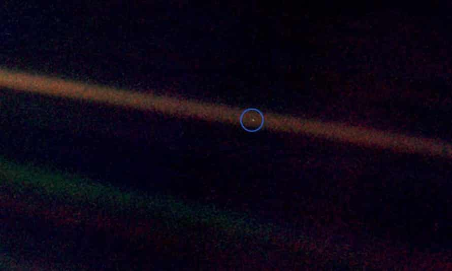 Pale Blue Dot … Earth seen from four billion miles by Voyager 1.