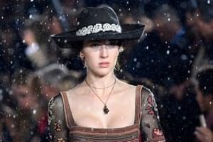 Rain fell during the Dior Croisiere fashion show.
