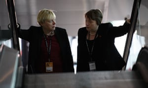 Angela Eagle (left), who launched a leadership bid in the summer before dropping out to make way for Owen Smith, with her twin sister Maria at the conference venue.