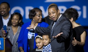 Lieutenant Governor-Elect Justin Fairfax celebrates with his family on stage after Democrats swept the Virginia governor, lieutenant governor and attorney general races.