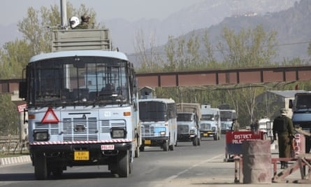 A convoy of Indian paramilitaries on the outskirts of Srinagar, Kashmir