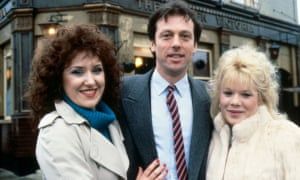 Leslie Grantham as Den, with Angie and Sharon Watts in EastEnders