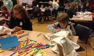 Judith Walker's 3D Art activity at Guardian Big Draw, Guardian Cartoon and art family day, 10 October 2015.