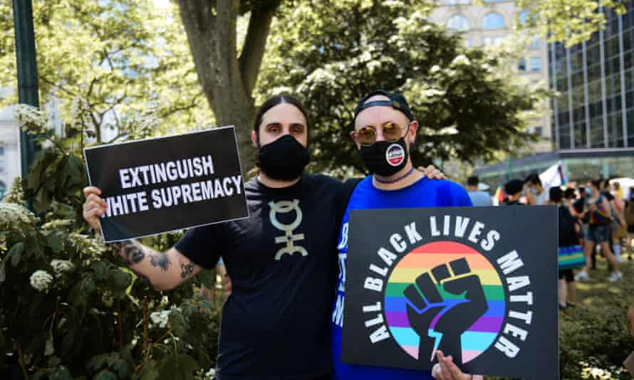 Protesters at the Black Lives Matter and Pride march in New York at the weekend.