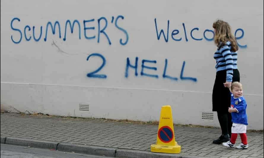 Portsmouth fans extend the hand of friendship to their rivals.