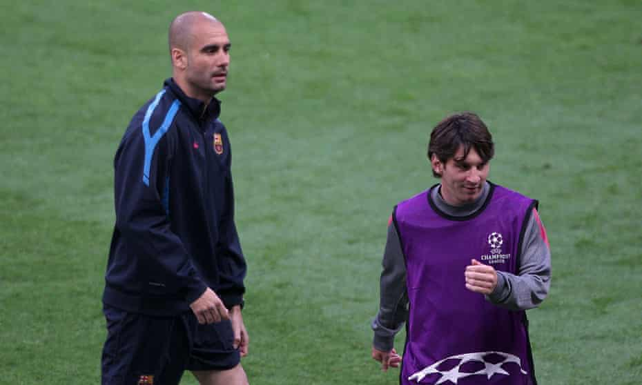 Lionel Messi with Pep Guardiola at Barcelona in 2011. Guardiola is now Manchester City's manager and wants to sign the forward.