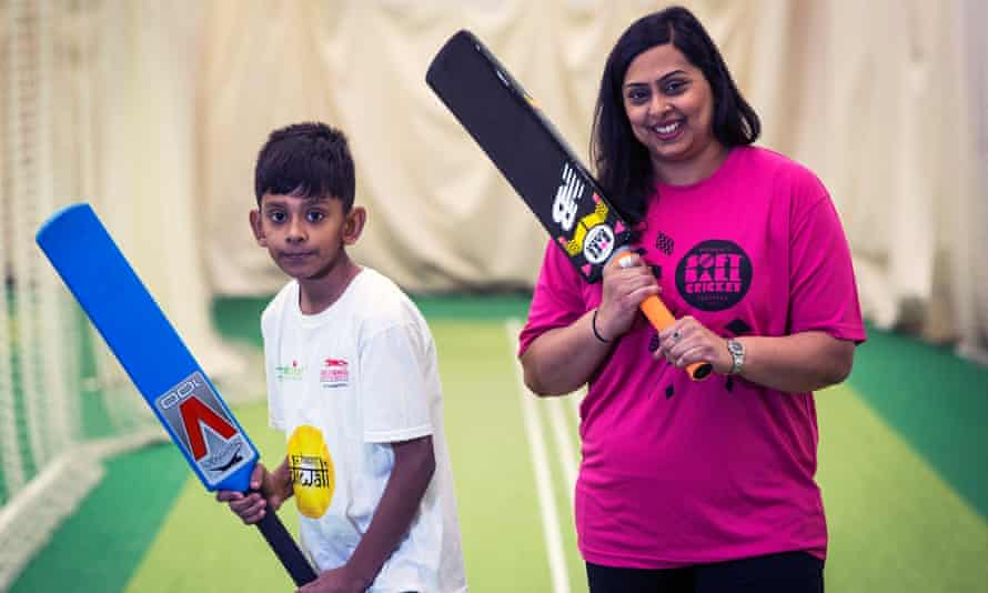 Shilly Pancholi and her son Shay at the Leicestershire country cricket club ground.