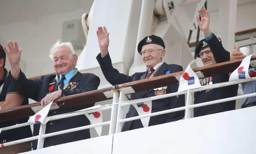 The MV Boudicca with D-day veterans onboard arrives in Poole, Dorset