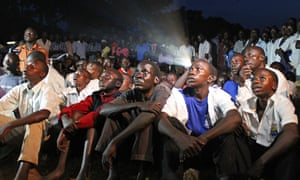 Ugandans in Lira district watch a screening of Kony 2012, a 30-minute YouTube film by US campaign group Invisible Children.