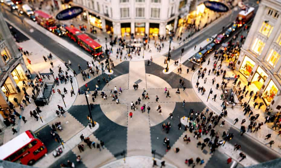 Shoppers and tourists visiting Oxford Circus.