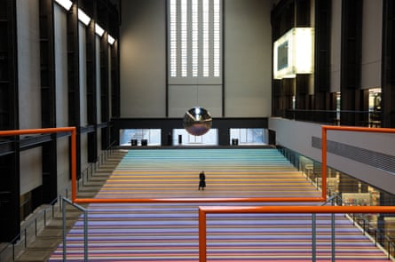 A place to hang … the Turbine Hall has a striking new carpet, from which to watch a pendulum swing.