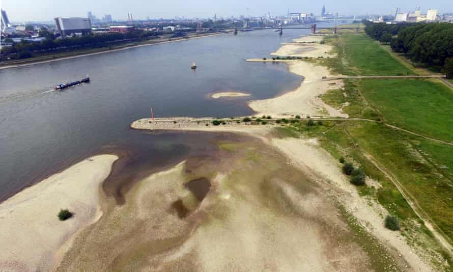 An aerial view shows dried out areas of the Rhine river in Cologne, Germany.