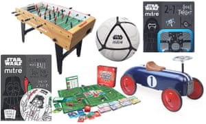 From left: Mitre Star Wars scriball - customisable mini-ball, Strikeworth free-kick table football, The Really Nasty Horse Racing Game, Mitre Star Wars Stormtrooper football, Retro Sports Car Push Car for toddlers, Mitre Star Wars 2 in 1 goal target.