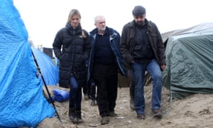 Jeremy Corbyn at a refugee camp in Calais