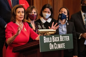 Nancy Pelosi speaks during an event with House Democrats and climate activists.
