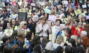 Nicola Sturgeon joins female activists in Glasgow. While female leaders play a more prominent role, the election is not a women's campaign.