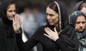 Jacinda Ardern leaving Friday prayers at Hagley Park in Christchurch after the attack.