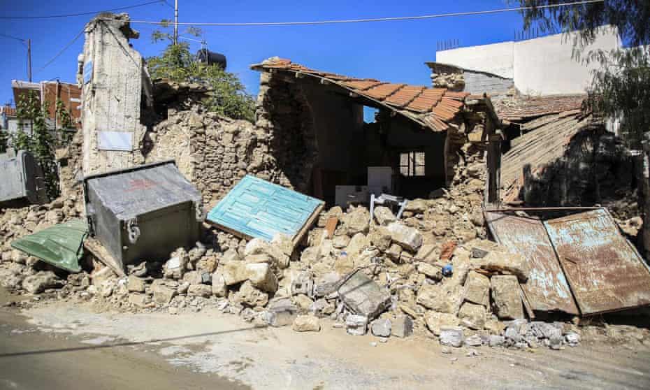 A house  in Arkalochori village on Crete following the earthquake