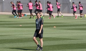 Tony Adams oversees his first training session as interim manager of Granada