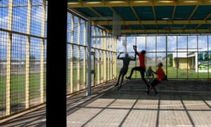 A photo of children playing basketball from Don Dale juvenile detention centre in Darwin, Australia
