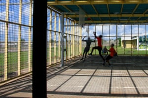 Detainees play basketball
