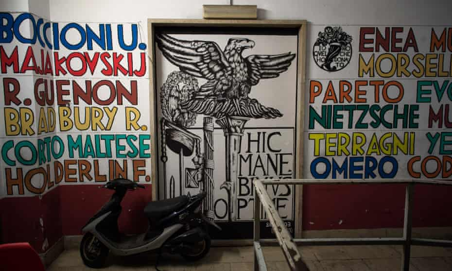 Inside the Casapound headquarters in Rome.